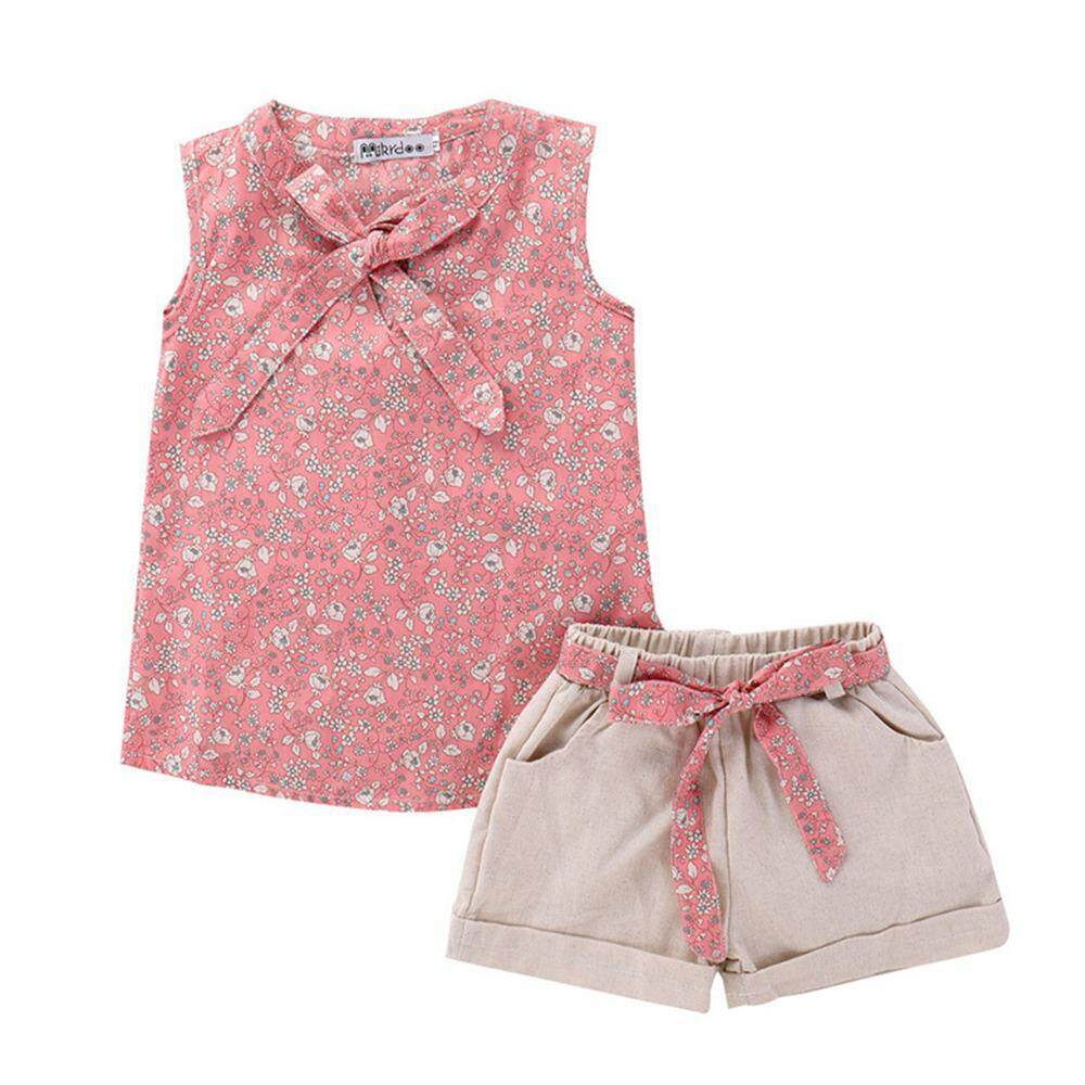 niceEshop Baby Girl Clothes Fashion Cartoon Girls Summer Set Clothes Baby Suits Kids T Shirt +