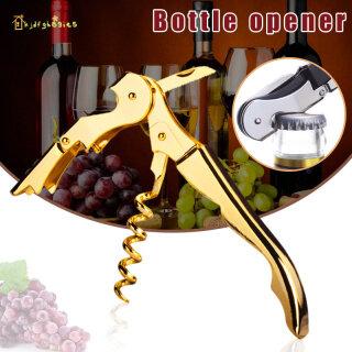 KJDF Mạ Vàng Corkscrew Đôi Bản Lề Người Phục Vụ Rượu Vang Mở Khóa Bên Mở Chai thumbnail