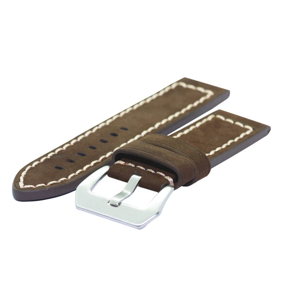 New 24mm Genuine Leather Extra Thick Brown Watch Band Strap With Fine Stitches And Spring Bars Malaysia