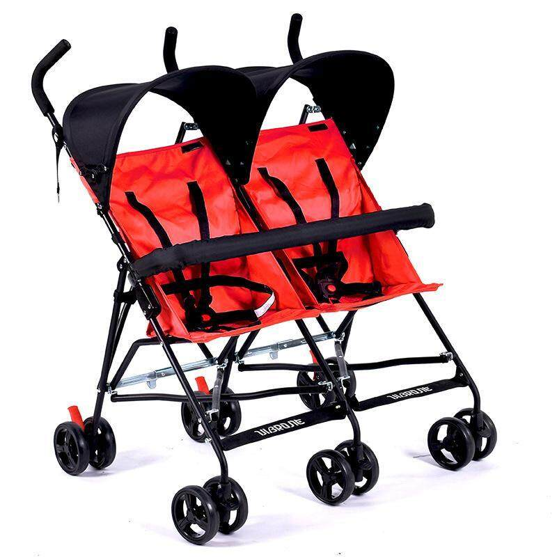 Travel Portable Double Stroller For Twins Folding Umbrella Baby Cart Double Strollers Twins Babies Umbrella Stroller Lightweight Singapore