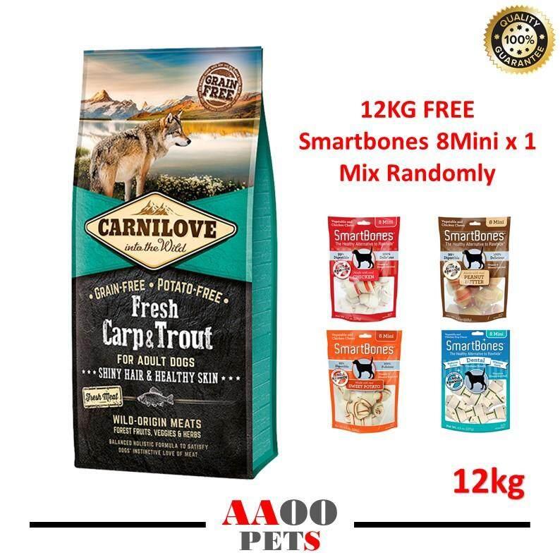[FREE SHIPPING] Carnilove Fresh Carp & Trout - 12KG Free Smartbones 8Mini x 1