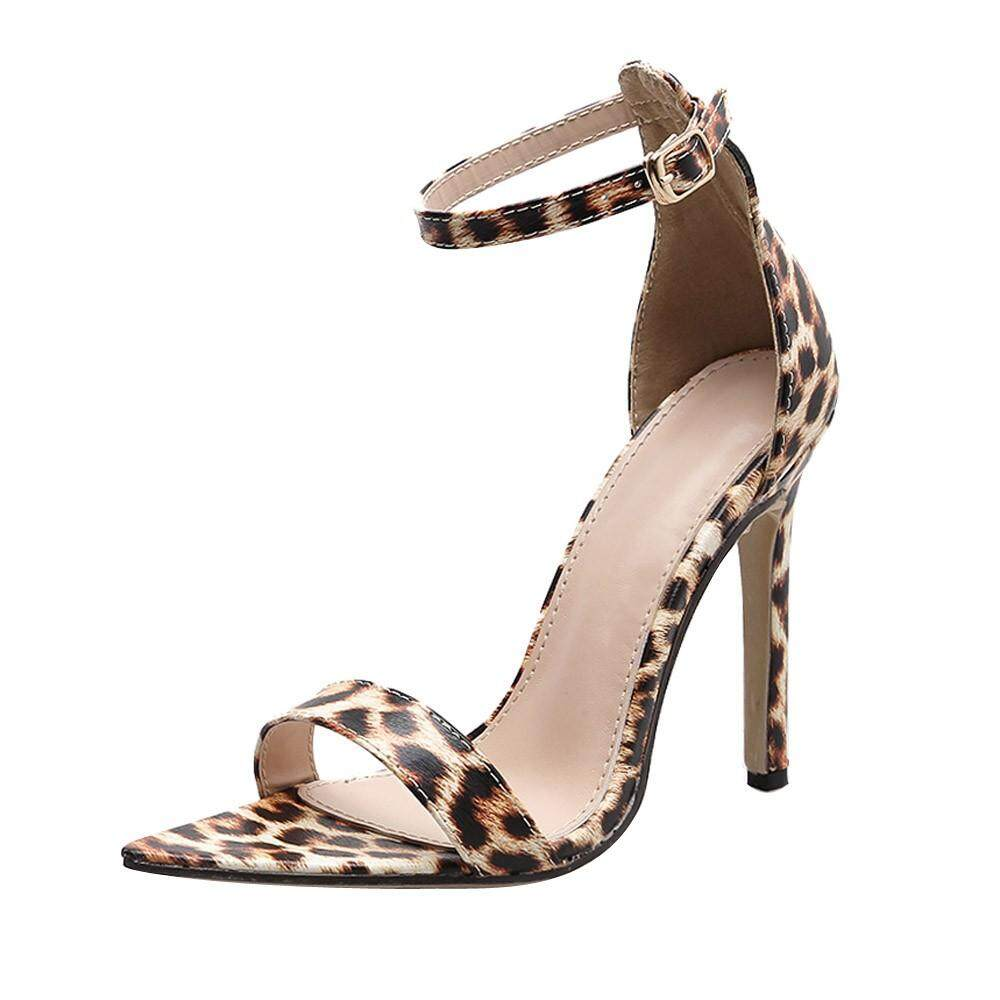 Free Shipping Women One-Point Buckle Pointed Leopard Female Cool High Heel Sexy Pumps Shoes