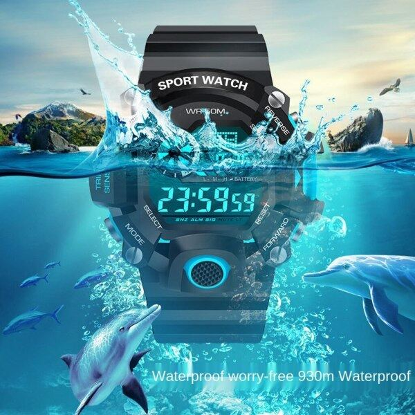 Ins Sports Electronic Watch Female Student Korean Simple Cold Light Movement Electronic Watch Waterproof Multi-function Sports Watch Decoration, 24-hour Indication Malaysia