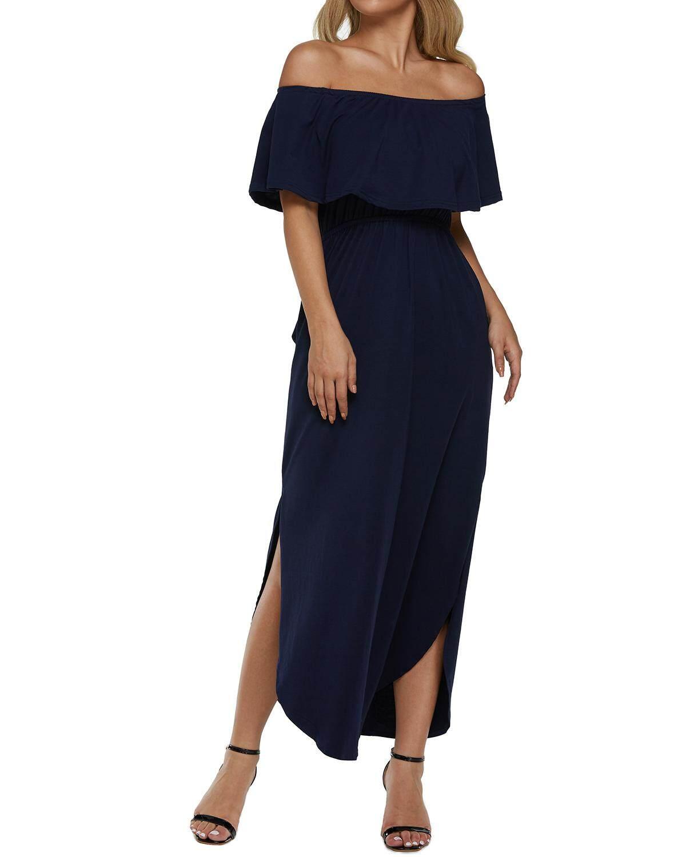 df63ed63e6bb Kidsform Women Maxi Dress Short Sleeve Off Shoulders Ruffles Side Split Long  Dress With Pockets Solid