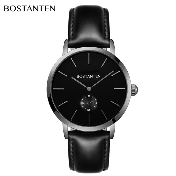 Bostanten mens watch simple ultra thin waterproof leather automatic mechanical mens quartz watch (with free box)-4062K Malaysia