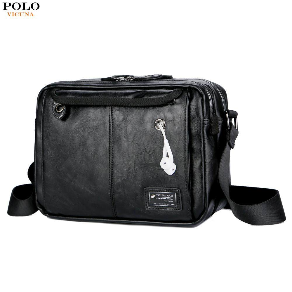 45c0668ecaf VICUNA POLO Large Messenger Bag Men Leather Double Pocket Laptop Bag  Earphone Hole Handbag Vintage Shoulder