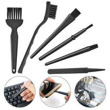 6 in 1 Plastic Small Portable Handle Nylon Anti Static Brushes Cleaning Keyboard Brush Kit, Black (Zip Bag )
