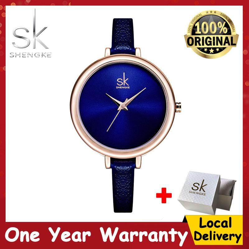 ShengKe Casaul Watch for Women Fashion Business Waterproof Wrist Watches Jam Tangan Wanita Quartz Watches Leather Strap Blue Color Malaysia