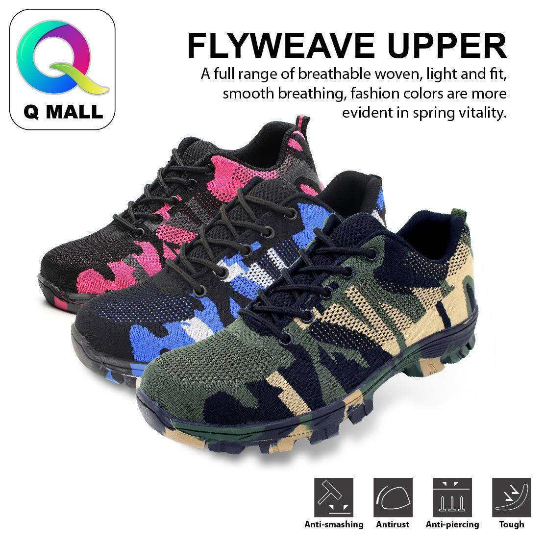 Q MALL Fashion Worker Low-Cut  Steel Toe Cap Work Safety Shoes (Flyweave Fabric) 526 - Army Green / Blue / Pink
