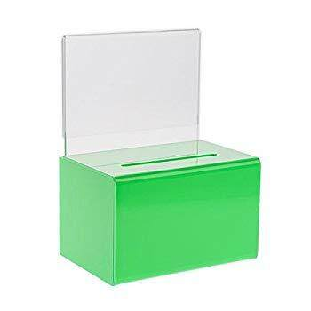 Source One Small 5-Inch Wide Deluxe Oblong Donation Box with Ad Frame & Free Lock (Green)