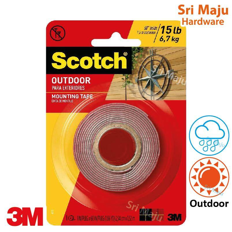 3M Scotch 411P Outdoor Permanent Mounting Double Side Sided Tape 2.54cm x 1.52M