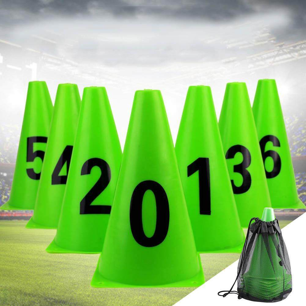 10pcs 23cm Green Soccer Training Cone Number 0-9 Football Barriers Marker
