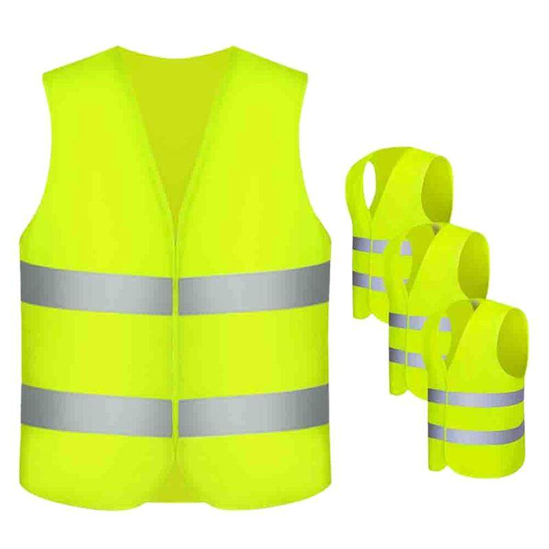 Safety Vests, 4 Pieces Safety Vest Car Tire Vest Neon Yellow with 360 Degrees Reflective Stripes and Buckle Closure Washable Accident Vest for Adults - Standardgre