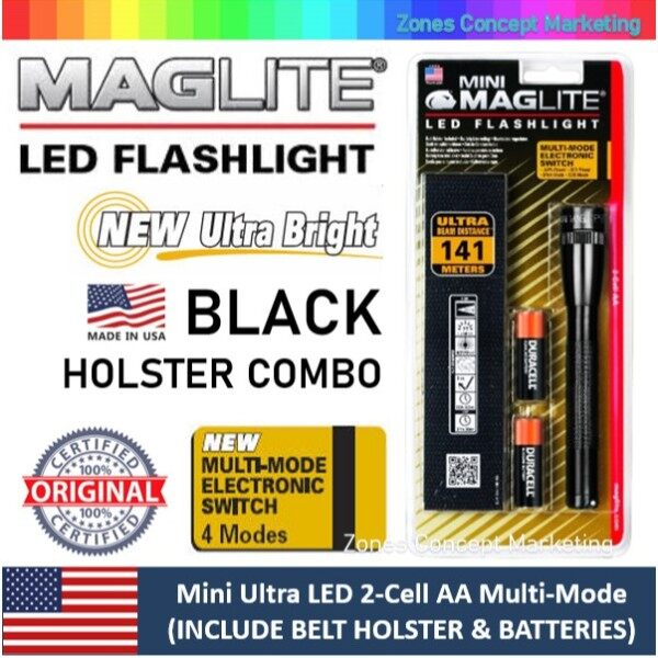 [FACTORY CLEARANCE] MAGLITE Mini Ultra LED 2-Cell AA Multi-Mode Flashlight (Holster Combo) (141M Beam) (Made in USA)