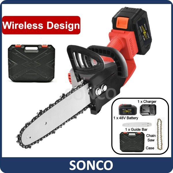 SONCO 48V Cordless Chainsaw Mini Chain Saw Wood Cutter Rechargeable Cordless Electric Secateurs Tree Branch Cutting