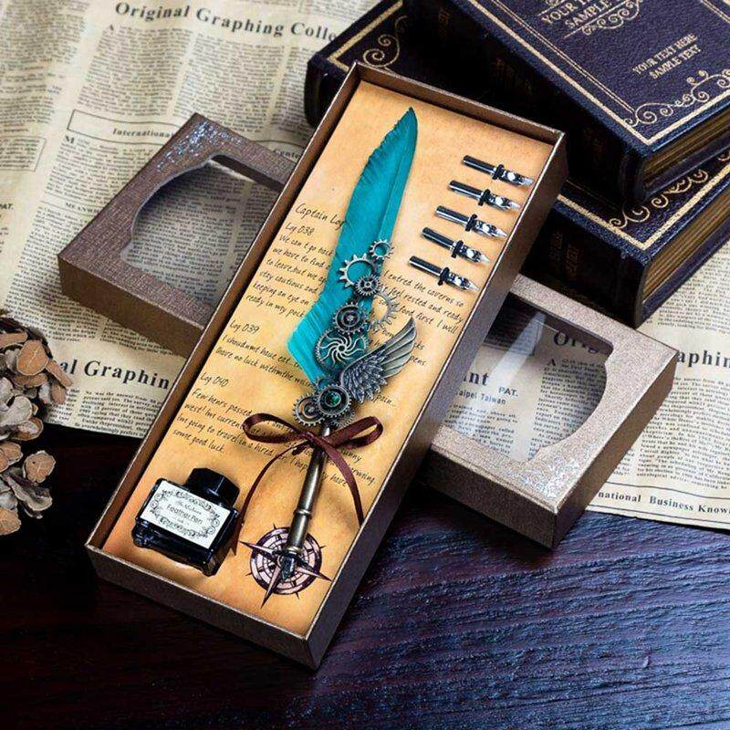 Sys Harry Potter Movie Feather Fountain Pen + Ink + 5 Pieces Replacement Refills Gift Set By Saiyousun.