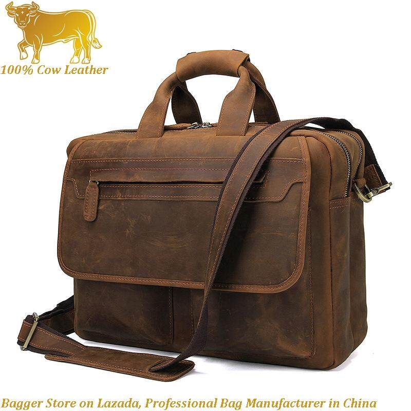 100% Italy Genuine Cow Leather Men Retro Style Multi Waterproof Business Bag Crazy Horse Leather Mens Fashion Handbag Casual Large Computer Briefcase Shoulder Bags By Bagger.
