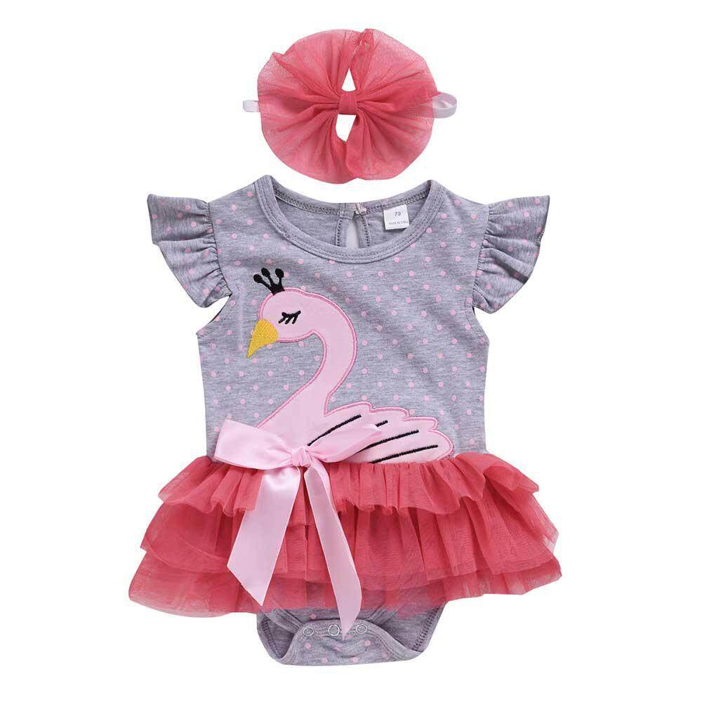 3f00740239cab VAYuncong Summer Newborn Baby Girl Swan Lace Romper Headband Outfits Clothes