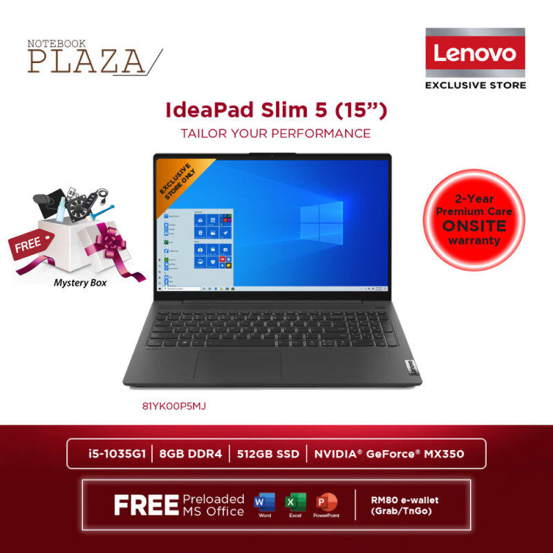 Lenovo IdeaPad 5 15IIL05 81YK00P5MJ 15.6 FHD Laptop Graphite Grey ( i5-1035G1, 8GB, 512GB SSD, MX350 2GB, W10, HS ) Malaysia