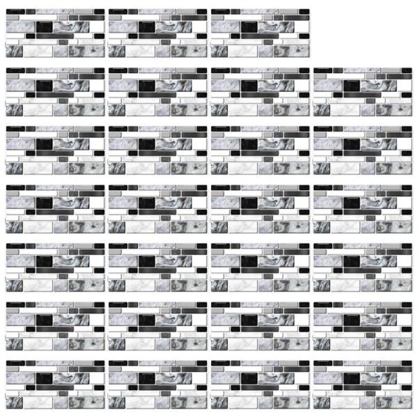 27 Miếng Dán Giả Đá Cẩm Thạch Mã Não Màu Xám Miếng Dán Tường Sàn Nhà Bếp Tự Dính, Trang Trí Nhà Phòng Tắm