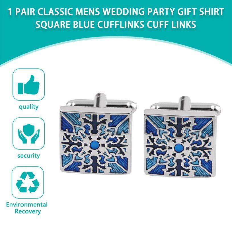 XIN 1 Pair Classic Mens Wedding Party Gift Shirt Square Blue Cufflinks Cuff Links Blue