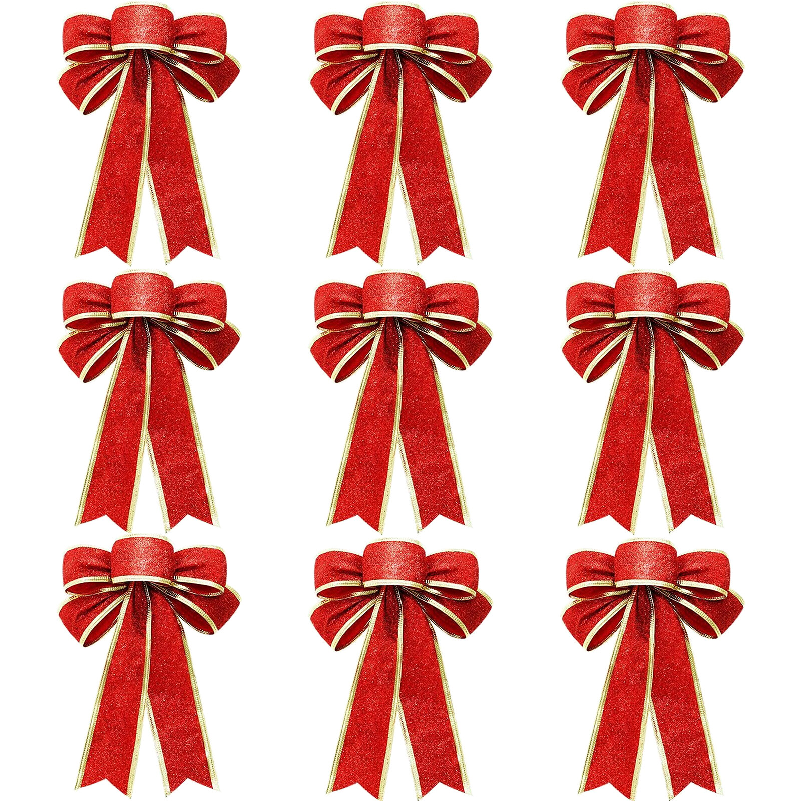 Hebeanna 9pcs Christmas Bows 5 Loop Red Ribbon Bows Christmas Wrapping Wreath Bow For Xmas Decoration Christmas Tree Crafts Diy Bow Decoration Wrapping Supplies Red Lazada Ph