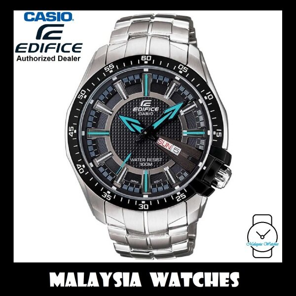 (OFFICIAL WARRANTY) Casio Edifice EF-130D-1A2 Quartz Analog 100M Black Dial Stainless Steel Mens Watch EF130D EF-130D-1A2V EF-130D-1A2VUDF Malaysia