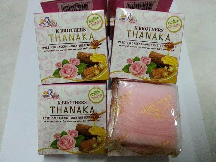 12 PCS K-BROTHERS THANAKA ROSE COLLAGEN AND HONEY WHITENING SOAP