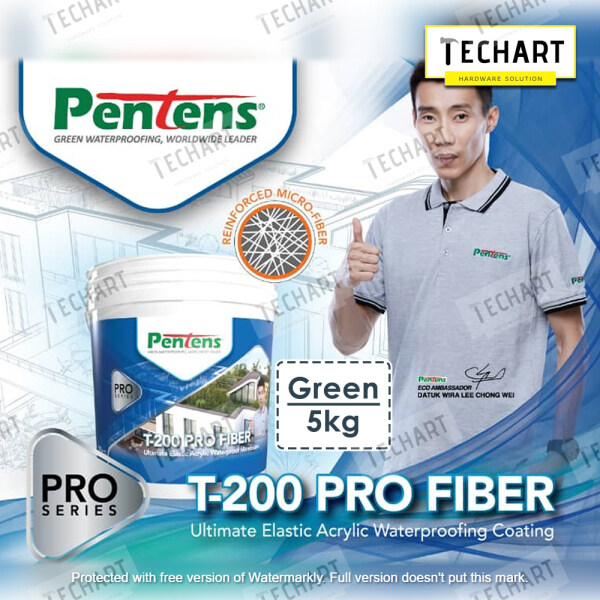PENTENS T-200 PRO FIBER 5KG ULTIMATE ELASTIC ACRYLIC WATERPROOFING COATING (White/ Grey/ Green)