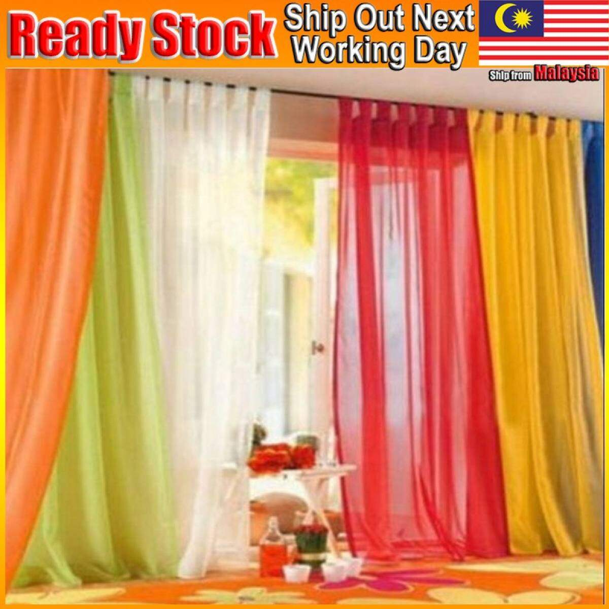 Sheer Curtain Tulle Window Treatment Voile Drape Valance Door Panel Fabric Yarn Tingkap Langsir Lace 200 100cm Lazada