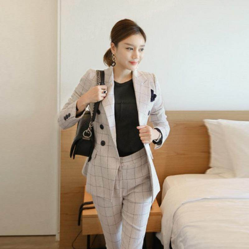 3a78562c38 Fashion Women's Office Lady Two Pieces Plaid Elegant Double Breasted Blazers  Full Length Trousers New Suit