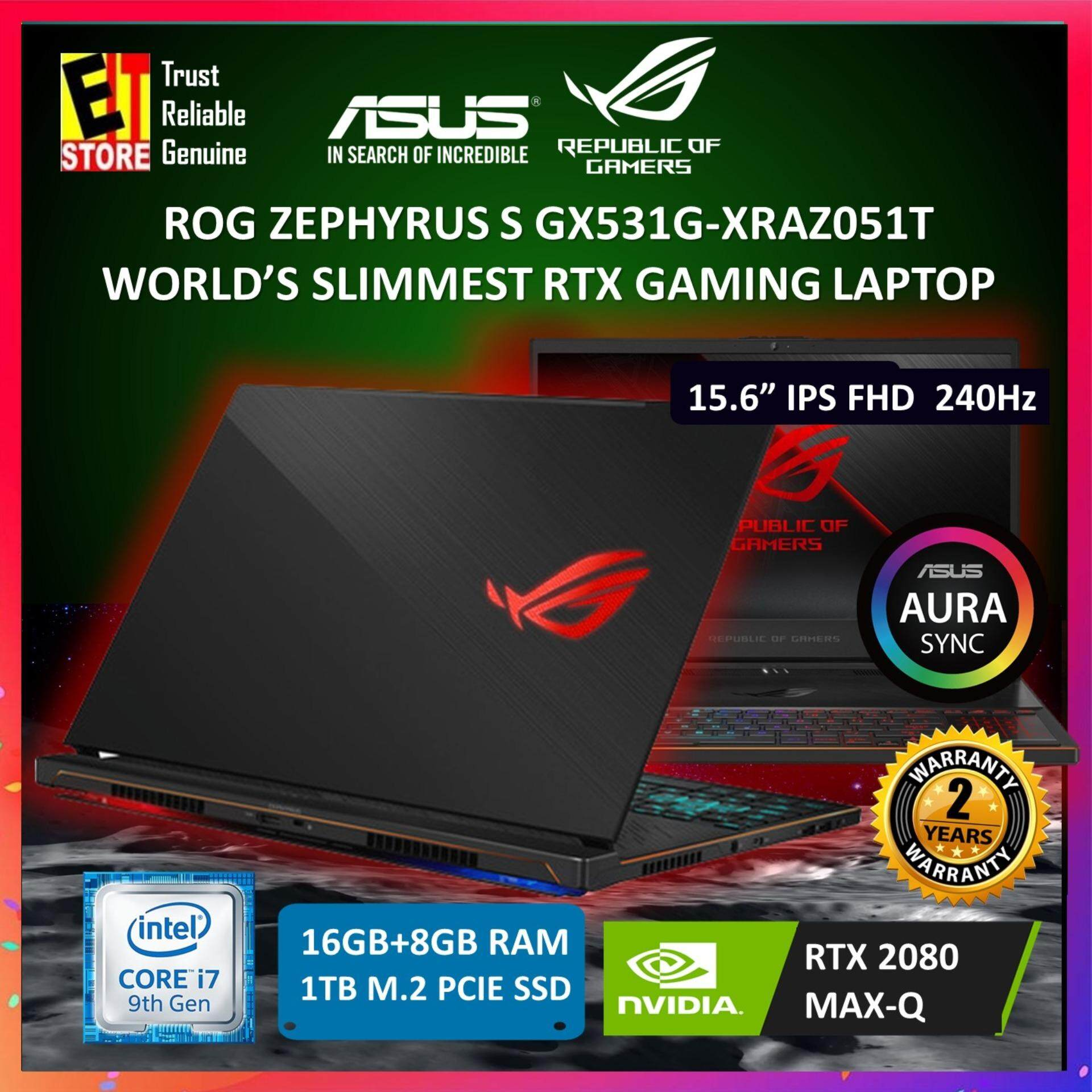 ASUS ROG ZEPHYRUS S GX531G-XRAZ051T (I7-9750H/16G+8G[ON BD]/1TB SSD/RTX 2080 (MAX-Q) 8VG/15.6/W10/2YRS) + MOUSE, HEADSET, BAG Malaysia