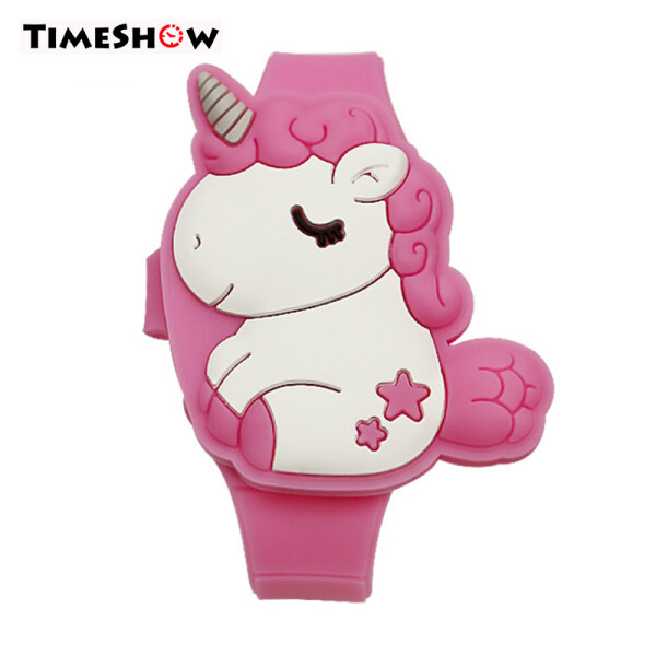 TimeShow Cute Unicorn Cartoon LED Electronic Silicone Watches Boys Girls Gift Flipping Watches Malaysia