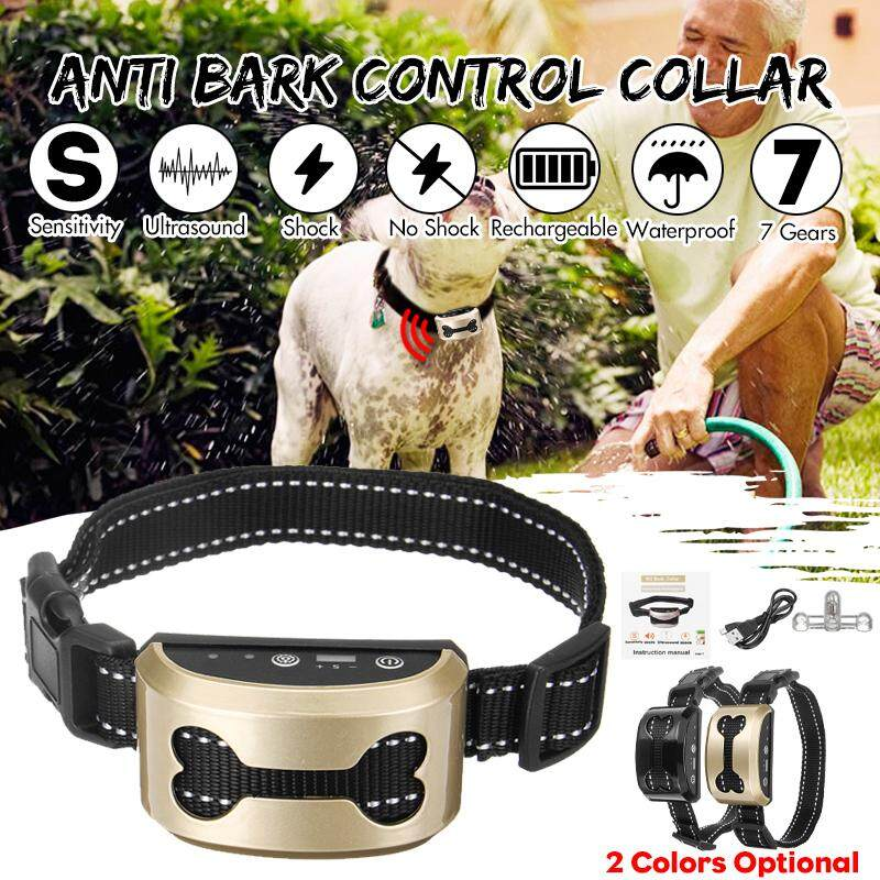 【Free Shipping + Flash Deal 】Anti Bark Control Collar 7Gears Sensitivity  Waterproof Electric Shock USB Charge Gold