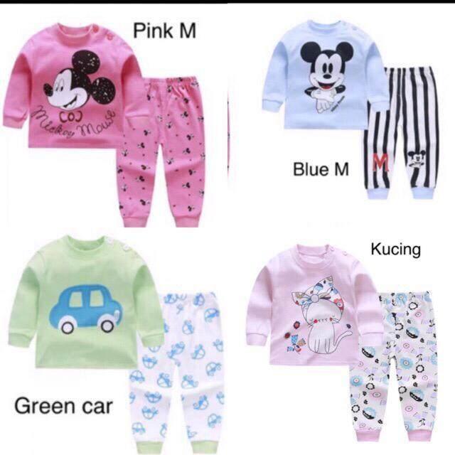 eb415615b ReadyStok Set Kids Baby Baju Tidur Sleepsuit Pajamas Lenggan Panjang Long  Sleeve