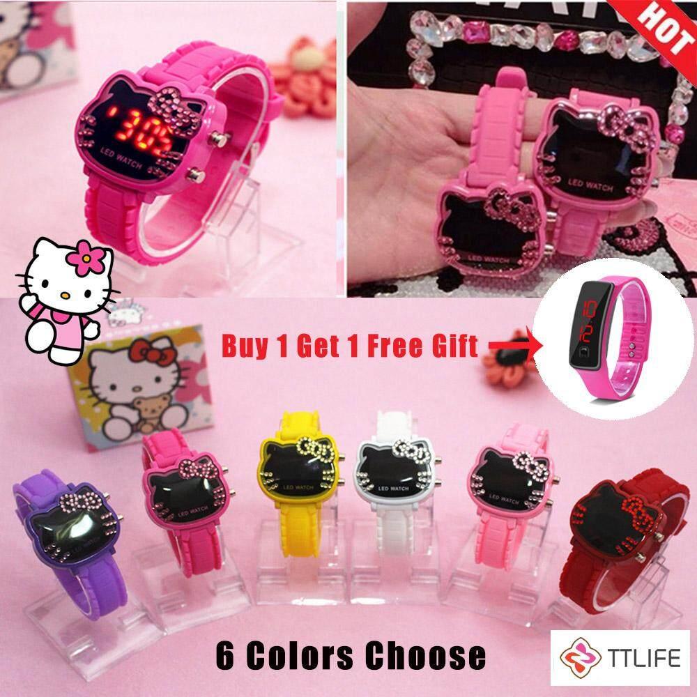 [Buy 1 Get 1 Free] TTLIFE 5 Colors Children LED Hello  Kitty Watch Women Led Digital Cartoon Wrist Watches Children Girls Casual Womens Clock Malaysia