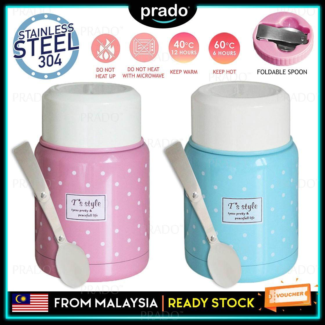 PRADO Malaysia 350mL Thermos Flask Vacuum Cup Lunch box Fast food Instant noodle bowl Vacuum Insulated Pot With Handle Suitable For School, Office, Outdoor Picnic Travel