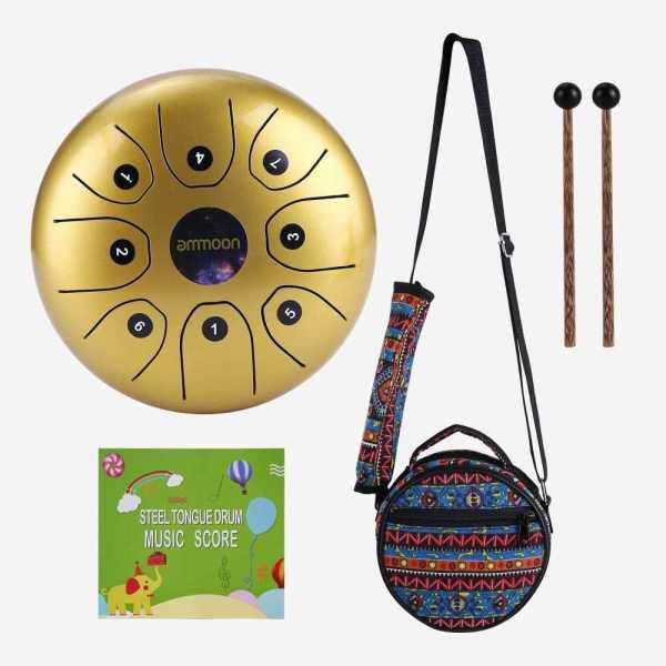 ammoon 5.5 Inches Mini Steel Tongue Drum 8 Notes C-Key Handpan Drum Steel Pocket Drum Percussion Instrument with Mallets Carry Bag for Meditation Yoga Zazen Musical Education (Gold) Malaysia