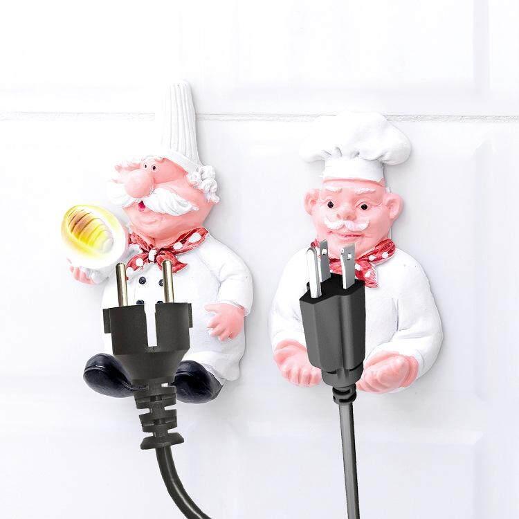 2 Pcs Power Plug Socket Jack Hook Rack Holder Hanger Home Wall Decor Organizer Hooks