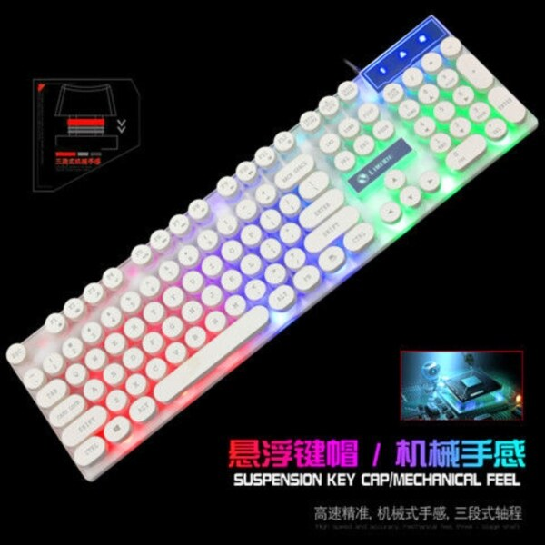 ◆♟ Backlit keyboard mouse suit suspended mechanical handle office laptop keyboard to eat chicken game computers Malaysia