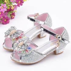 Giày công chúa dành cho bé gái chất liệu lấp lánh chi tiết nơ xinh xắn có đính ngọc trai KIO