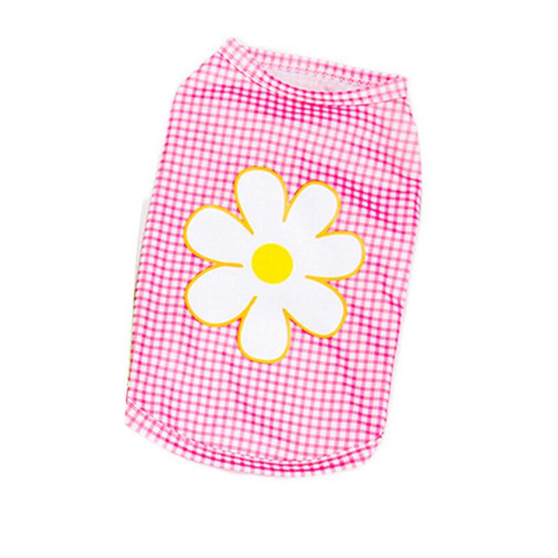 Áo Cho Thú Cưng Áo Cánh Cổ Tròn Polyester Thân Thiện Với Da In Hoa Cúc Kẻ Ca Rô, Áo Phông Dự Tiệc