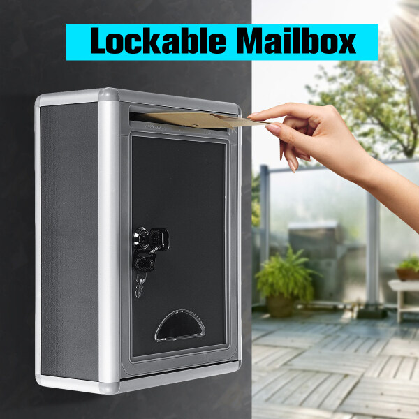 Retro Aluminum Mail Letter Post Storage Box Outdoor Lockable Mailbox Wall Mount