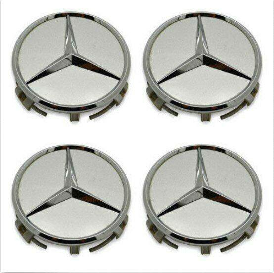 4 Pc Set Wheel Raised Center Caps Silver/chrome Hubcaps For Mercedes Benz 3 By Cnest Official Direct Store.