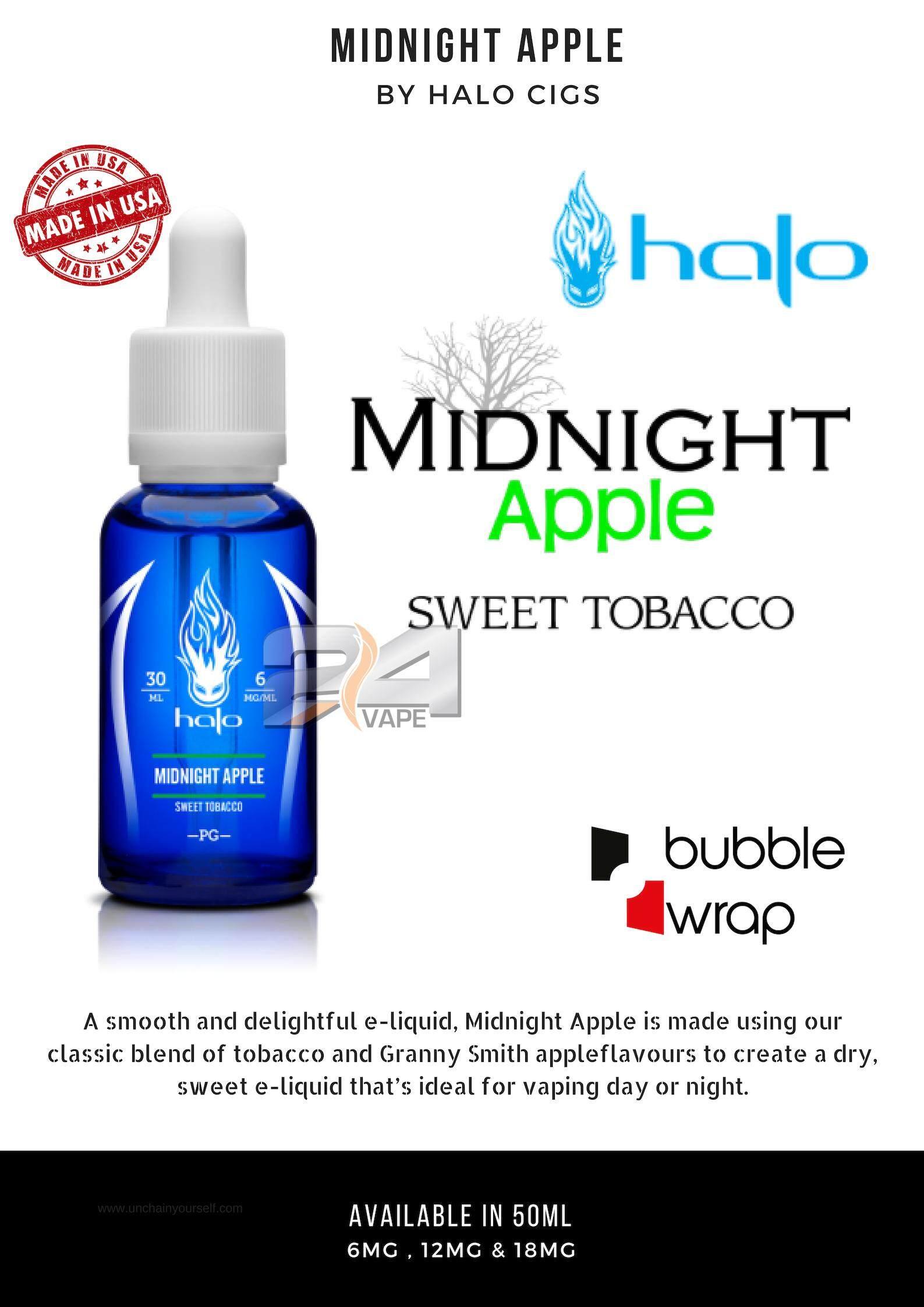 USA Made Halo Tobacco Midnight Apple E-liquid 50ML Authentic Blue Series