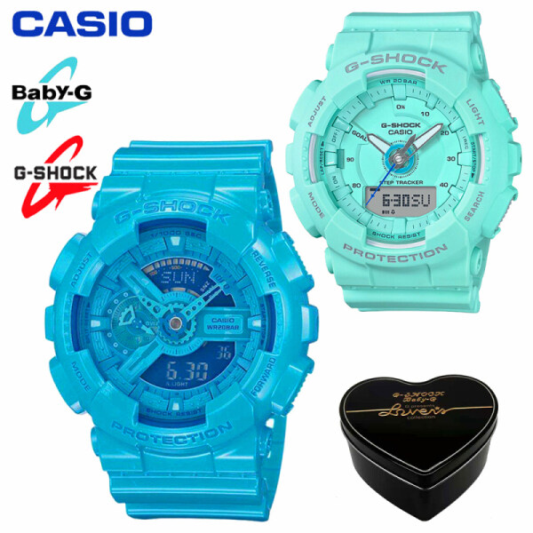 Original Casio G-Shock GA110 GMAS130 Men Women Couple Set Sport Watch Dual Time Display Water Resistant Shockproof and Waterproof World Time LED Light Sports Lover Wrist Watches with 2 Years Warranty GA-110B-2/GMA-S130-2APR Green Blue (Ready Stock) Malaysia