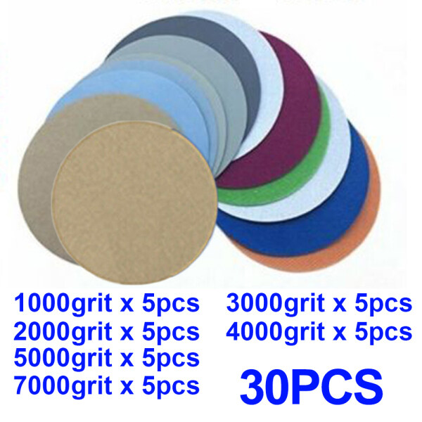 30Pcs 5-Inch 1000-7000 Grit Wet Dry Sanding Discs Hook Loop Sand Papers Polishing for Wood Plastic Furniture Metal Polisher