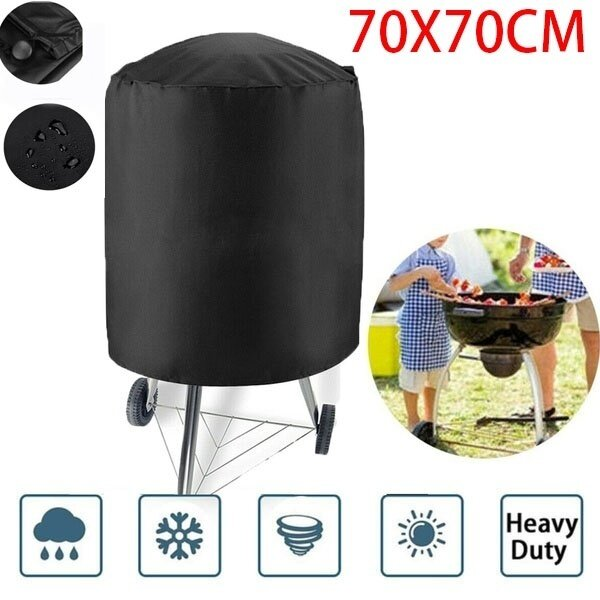 70 x 70CM black barbecue hood barbecue grill outdoor rainproof, round smoking hood