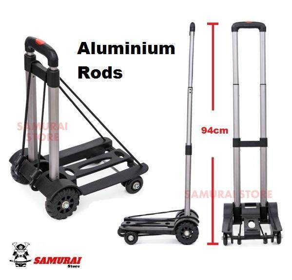 Mini Multi-Functional Fordable Trolley Shopping Cart Folding Travel Luggage Carrier Metal Trolley (aluminium) By Samurai Store.