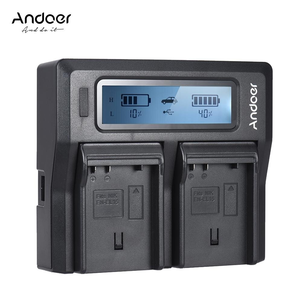 Andoer EN-EL15 Saluran Ganda Digital Kamera Bat-Charger Tery Layar LCD untuk N-Ikon D500 D610 D7000 D7100 D750 D800 D810 D7200 dengan DC Pengisi Daya Mobil